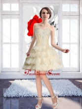 Champagne Popular Prom Dress with Beading and Ruffled Layers SJQDDT57003FOR