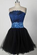 Cheap A-line Strapless Mini-length Navy Blue Prom Dress LHJ42814