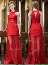 Cheap Belted Red Long Prom Dress in Tulle and Lace BMT0188FOR