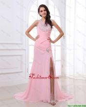 Cheap Column Brush Train Prom Dresses with High Slit and Beading DBEE479FOR