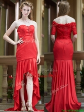 Cheap Column High Low Red Prom Dress with Brush Train BMT096FOR