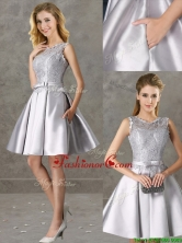 Classical Laced and Bowknot Scoop Prom Dress in Silver BMT0132-2FOR