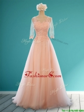 Classical Scoop Half Sleeves Prom Dress with Appliques and Belt BMT0128CFOR