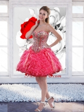 Colorful Mini Length Hot Pink Prom Dresses with Ruffles and Beading SJQDDT51003FOR