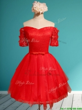 Comfortable Off the Shoulder Short Sleeves Red Prom Dress with Appliques and Belt BMT0127BFOR