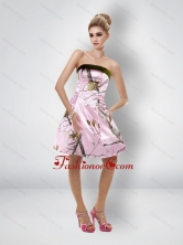 Fashionable Short Strapless Baby Pink Camo Prom Dresses CMPD022FOR