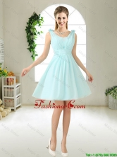 Comfortable Straps Light Blue Prom Dresses with Hand Made Flowers BMT052DFOR