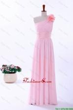 Custom Made Empire One Shoulder Hand Made Flowers Prom Dresses in Baby Pink DBEES095FOR