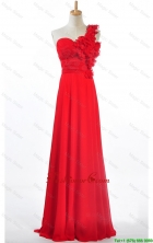 Custom Made Empire One Shoulder Prom Dresses with Hand Made Flowers DBEES334FOR