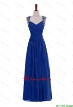 Custom Made Empire Straps Beaded Prom Dresses in Blue for 2016 DBEES339FOR