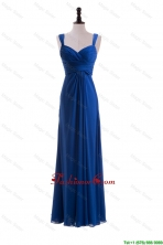 Custom Made Empire Straps Prom Dresses with Ruching in Blue DBEES308FOR