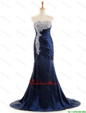 Custom Made Mermaid Royal Blue Prom Dresses with Brush Train DBEES016FOR