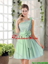 Custom Made One Shoulder Lace 2016 Prom Dresses with Bowknot BMT010C-3FOR