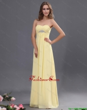 Custom Made Yellow Long Prom Dresses with Beading for 2016 DBEE539FOR