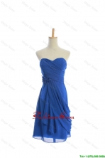 Customize Hand Made Flowers and Ruching Short Prom Dresses in Royal Blue DBEES139FOR