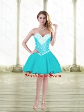 Cute Ball Gown Sweetheart Prom Dresses with Beading in Aqua Blue SJQDDT88003FOR