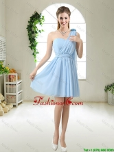 Decent One Shoulder Prom Dresses with Hand Made Flowers BMT049AFOR