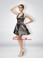 Fashionable 2015 Short Halter Mini Length Ruching Camo Prom Dresses  CMPD041FOR