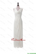 Discount Empire V Neck Long Prom Dresses in White DBEES254FOR