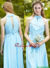 Discount Halter Top Light Blue Prom Dress with Appliques BMT0110AFOR