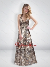 Fashionable A Line Halter Top Multi Color Camo Prom Dresses with Brush Train CMPD062FOR