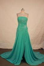 Elegant A-line Strapless Brush Chiffon Green Beading Prom Dresses Style FA-C-152