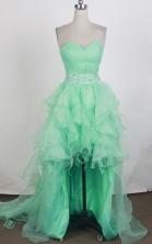 Elegant A-line Sweetheart Knee-length High-low Turquoise Prom Dress LHJ42862