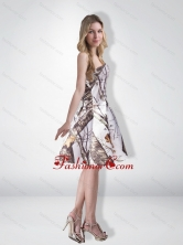 Fashionable Multi Color Strapless Knee Length Camo Prom Dresses CMPD044FOR