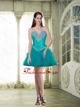 Elegant Organza Beaded and Ruffles Prom Dresses in Turquoise SJQDDT86003FOR