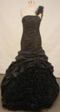 Elegant mermaid one shoulder floor-length taffeta black prom dresses FA-X-133