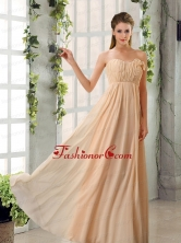 Empire V Neck Ruching Chiffon Prom Dresses with Cap Sleeves BMT024CFOR