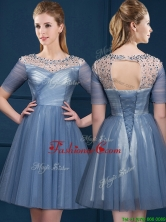 Exclusive Scoop Short Sleeves Beading Prom Dress in Navy Blue BMT0115FOR