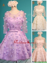 Exclusive See Through Scoop Half Sleeves Prom Dress with Appliques and Belt BMT0122FOR