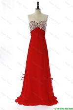 Exquisite 2016 Winter Beading Red Prom Dresses with Sweep Train DBEES240FOR