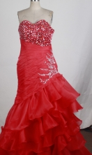 Exquisite A-line Sweetheart Floor-length Red Prom Dress LHJ42857