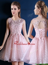 Exquisite Baby Pink Scoop Prom Dress with Appliques and Beading BMT0111FOR