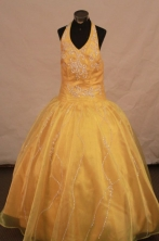 Exquisite Ball Gown Halter Top Floor-length Yellow Appliques Flower Gril dress Style FA-L- 460