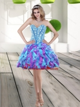Fashionable 2015 Beading and Ruffles A Line Prom Dress in Multi Color QDDTA71003FOR