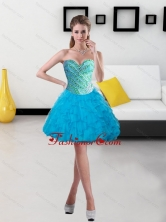 Fashionable 2015 Beading and Ruffles Short Prom Dresses in Baby Blue SJQDDT14003FOR