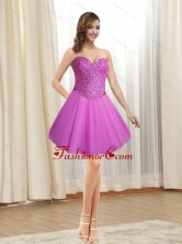 Fashionable 2015 Short Tulle Sweetheart Fuchsia Prom Dresses with Beading SJQDDT12003-1FOR