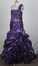 Fashionable A-line One Shoulder Floor-length Eggplant Purple Prom Dress LHJ42879