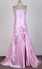 Fashionable A-line Strapless Brush Light Pink Prom Dress LHJ42830