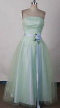 Fashionable A-line Strapless Floor-length Apple Green Prom Dress LHJ42806