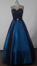 Fashionable A-line Sweetheart Floor-length Navy Blue Prom Dress LHJ42818