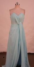 Fashionable A-line Sweetheart-neck Floor-length Chiffon Light Blue Beading Prom Dresses Style FA-C-2