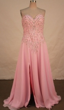 Fashionable A-line Sweetheart-neck Floor-length Pink Beading Prom Dresses Style FA-C-153