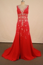 Fashionable A-line V-neck Floor-length Red Beading Prom Dresses Style FA-C-180