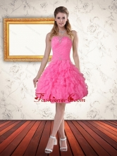 Fashionable Baby Pink Sweetheart Prom Dress with Beading and Ruffled Layers PDZY724TZCFOR
