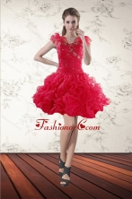 Fashionable Beading Sweetheart Red 2015 Prom Gown with Ruffled Layers XFNAO293TZBFOR