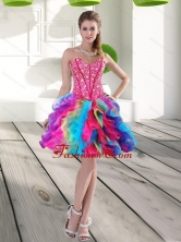 Fashionable Beading and Ruffles Organza 2015 Prom Dress in Multi Color QDDTA63003FOR